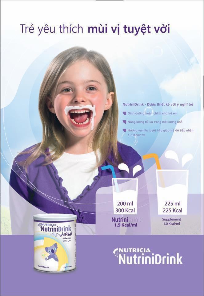 Sữa Nutrini Drink giúp tăng cân cho bé