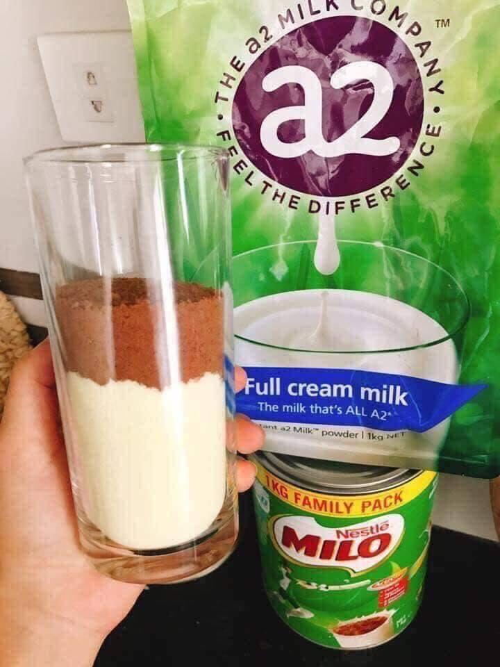Sữa Milo Úc pha với A2